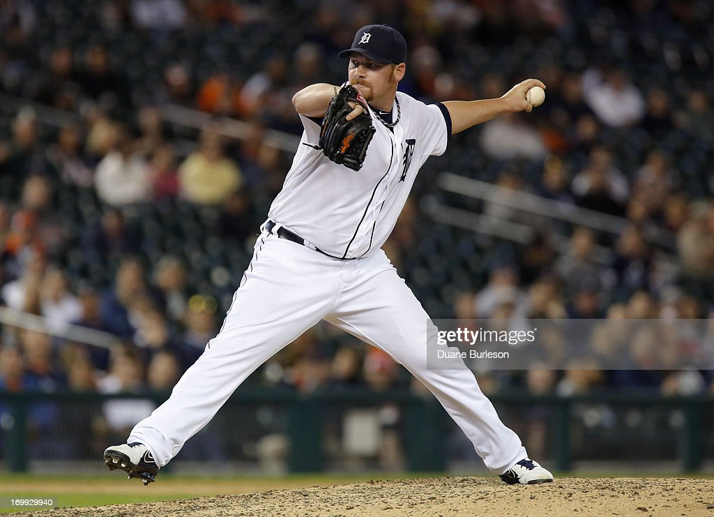 <a gi-track='captionPersonalityLinkClicked' href=/galleries/search?phrase=Phil+Coke&family=editorial&specificpeople=5518031 ng-click='$event.stopPropagation()'>Phil Coke</a> #40 of the Detroit Tigers pitches against the Tampa Bay Rays in the ninth inning at Comerica Park on June 4, 2013 in Detroit, Michigan.