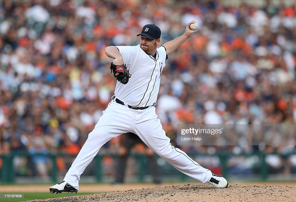 <a gi-track='captionPersonalityLinkClicked' href=/galleries/search?phrase=Phil+Coke&family=editorial&specificpeople=5518031 ng-click='$event.stopPropagation()'>Phil Coke</a> #40 of the Detroit Tigers pitches in the eighth inning during the game against the Cleveland Indians at Comerica Park on June 8, 2013 in Detroit, Michigan. The Tigers defeated the Indians 6-4.