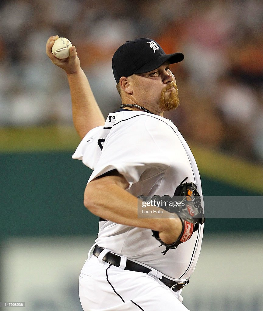 Phil Coke #40 of the Detroit Tigers pitches in the seventh inning during the game against the Kansas City Royals at Comerica Park on July 6, 2012 in Detroit, Michigan. The Tigers defeated the Royals 4-2.
