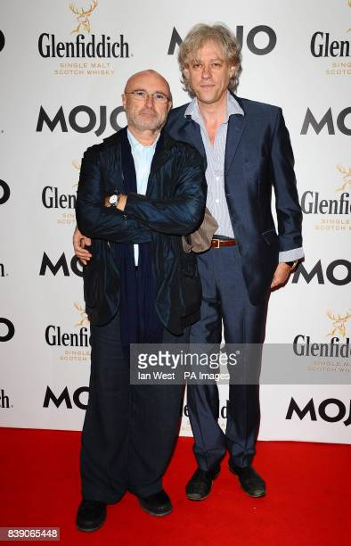 Phil Collins and Bob Geldof arrive at the Mojo Awards at the Brewery in London