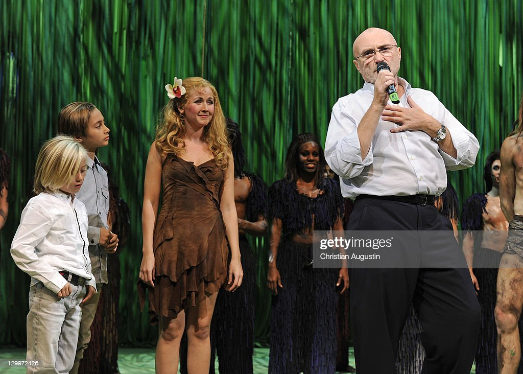 Phil Collins and both sons Matthew Collins and Nicholas Collins and Elisabeth Huebert (Jane) attend Tarzan Musical 3rd anniversary at Theatre 'Neue Flora' on October 22, 2011 in Hamburg, Germany.
