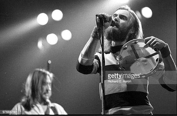 Phil Collins and Mike Rutherford from Genesis perform live on stage at Madison Square Garden in New York on February 23 1977