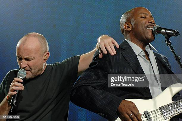 Phil Collins and Nathan East during The Andre Agassi Charitable Foundation's 11th Annual Grand Slam for Children Fundraiser Show at MGM Grand Garden...