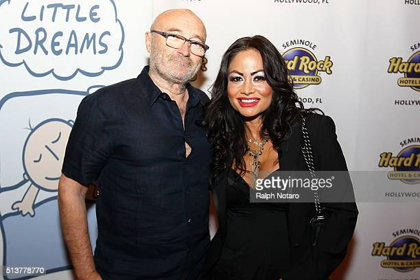 Phil Collins and Orianne Cevey attend Little Dreams Foundation Press Conference at LBar in Seminole Hard Rock Hotel Casino Hollywood on March 4 2016...