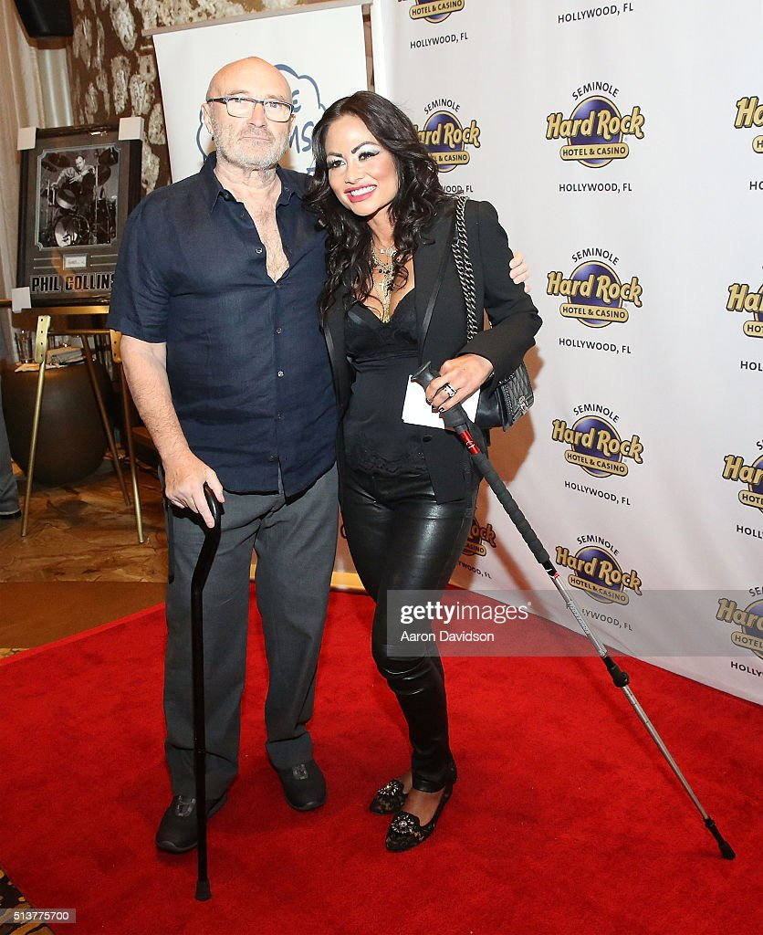 Phil Collins and Orianne Cevey attend Press Conference for the Little Dreams Foundation at Seminole Hard Rock Hotel & Casino ? Hard Rock Cafe Hollywood on March 4, 2016 in Hollywood, Florida.