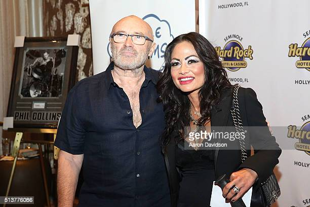 Phil Collins and Orianne Cevey attend Press Conference for the Little Dreams Foundation at Seminole Hard Rock Hotel Casino Hard Rock Cafe Hollywood...