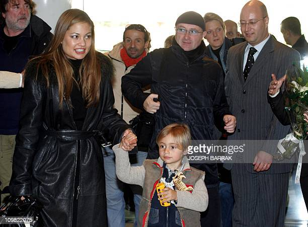 Phil Collins his wife Orianne and son Nicholas arrive 04 November 2005 in the Movenpick hotel in Beirut Collins will hold one night concert...