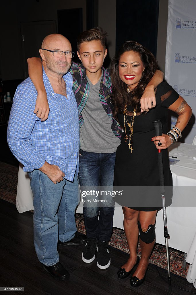 Phil Collins, Nicholas Collins and Orianne Collins attend the Little Dreams Foundation auditions at Markee Studios on June 20, 2015 in Deerfield Beach, Florida.