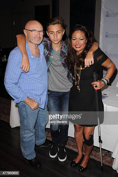 Phil Collins Nicholas Collins and Orianne Collins attend the Little Dreams Foundation auditions at Markee Studios on June 20 2015 in Deerfield Beach...