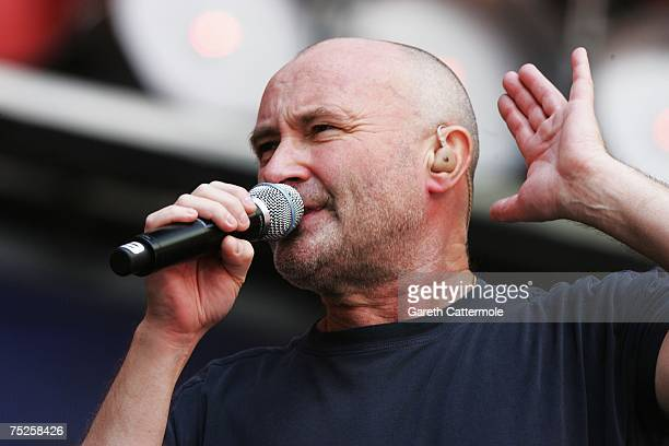 Phil Collins of British rock group Genesis performs on stage during the Live Earth concert held at Wembley Stadium on July 7 2007 in London Live...