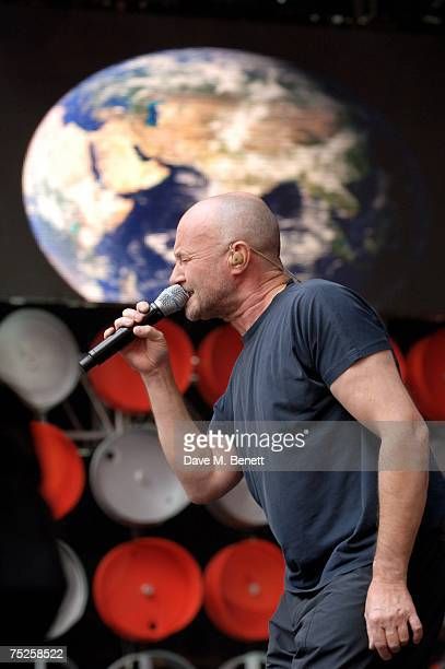 Phil Collins of Genesis performs on stage during the Live Earth London concert at Wembley Stadium on July 7 2007 in London England Live Earth is a...