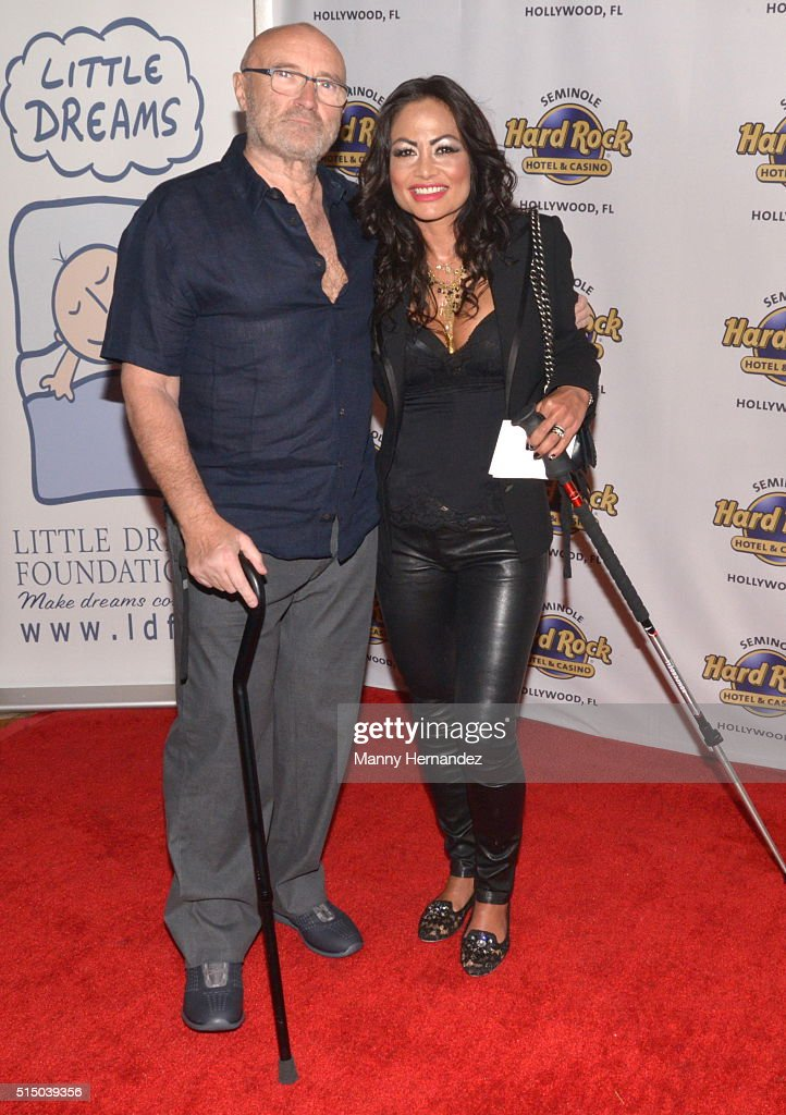 Phil Collins, Orianne Collins attends Press Conference for Little Dreams Foundation at Seminole Hard Rock Hotel & Casino – Hard Rock Cafe Hollywood on March 4, 2016 in Hollywood, Florida.