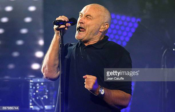 Phil Collins performs during the 2016 US Open opening night at USTA Billie Jean King National Tennis Center on August 29 2016 in the Queens borough...