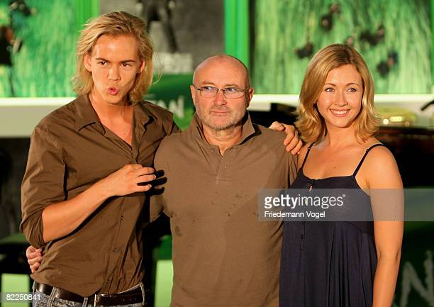 Phil Collins poses with Anton Zetterholm and Elisabeth Huebert during the rehearsals for the Tarzan Musical at the theater Neue Flora on August 11...