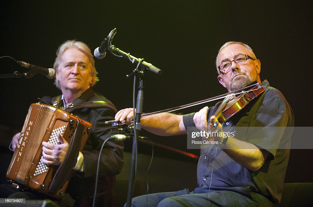 Phil Cunningham and Aly Bain performs on stage as part of Transatlantic Sessions at Celtic Connections Festival 2013 at Glasgow Royal Concert Hall on February 1, 2013 in Glasgow, Scotland.