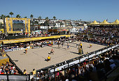 Phil Dalhausser and Todd Rogers compete with Nick Lucena and Sean Scott in the AVP Manhattan Beach Open final on September 21 2008 at the pier in...