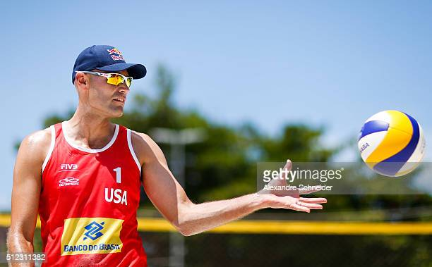 Phil Dalhausser of the United States competes in the main draw match against Poland at Pajucara beach during day three of the FIVB Beach Volleyball...