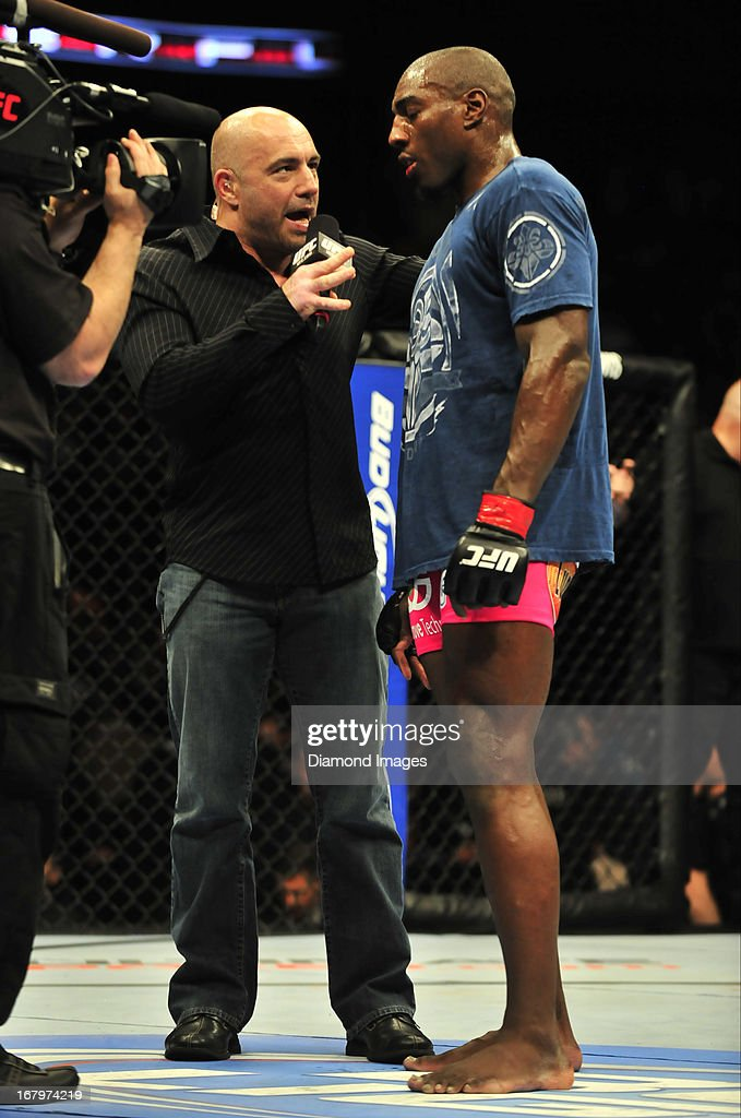 Phil Davis is interviewed by commentator Joe Rogan after a light-heavyweight bout during UFC 159 Jones v. Sonnen at Prudential Center in Newark, New Jersey.