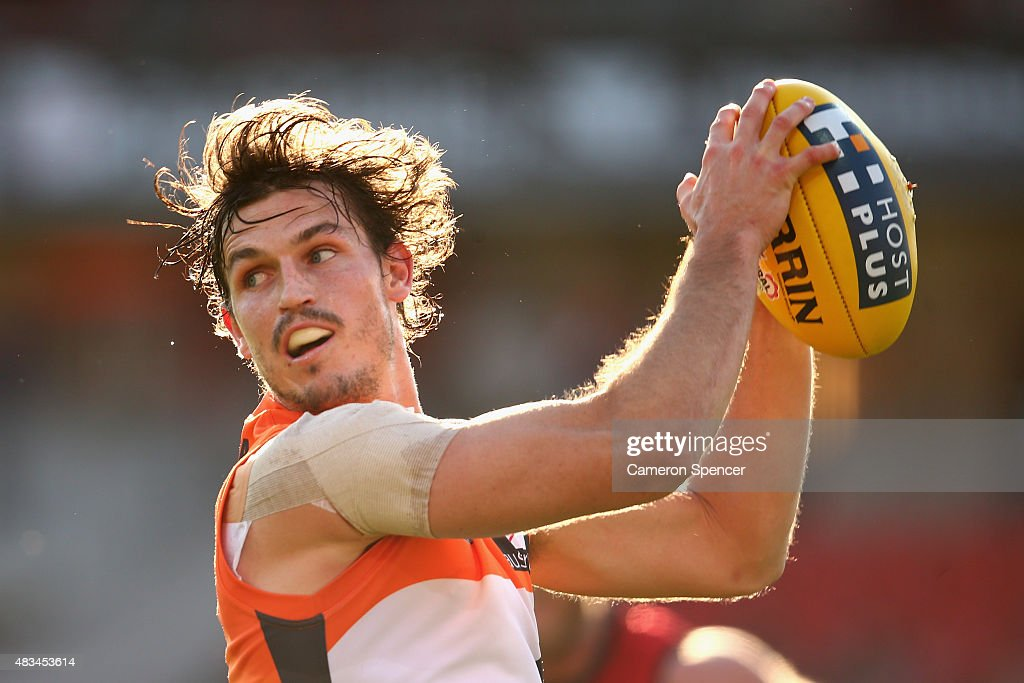Phil Davis of the Giants marks during the round 19 AFL match between the Greater Western Sydney Giants and the Essendon Bombers at Spotless Stadium...