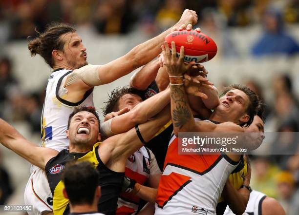Phil Davis of the Giants Toby Nankervis of the Tigers Aidan Corr of the Giants Jack Riewoldt of the Tigers Rory Lobb of the Giants and Daniel Rioli...