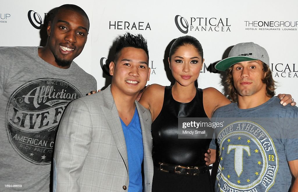 Phil Davis, Sam Hon, <a gi-track='captionPersonalityLinkClicked' href=/galleries/search?phrase=Arianny+Celeste&family=editorial&specificpeople=4900711 ng-click='$event.stopPropagation()'>Arianny Celeste</a> and <a gi-track='captionPersonalityLinkClicked' href=/galleries/search?phrase=Urijah+Faber&family=editorial&specificpeople=2312319 ng-click='$event.stopPropagation()'>Urijah Faber</a> attend the Optical Panacea Launch Party at HERAEA at the Palms Casino Resort on May 24, 2013 in Las Vegas, Nevada.