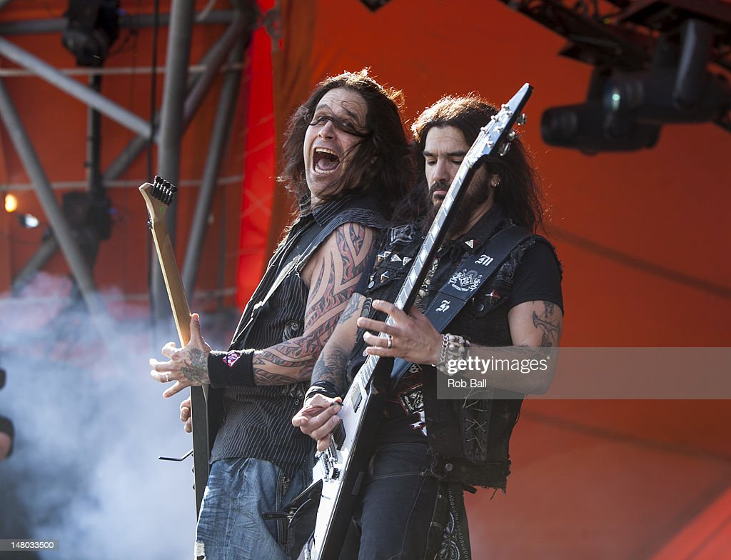 Phil Demmel and Robb Flynn from Machine Head perform on day four of Roskilde Festival on July 8, 2012 in Roskilde, Denmark.