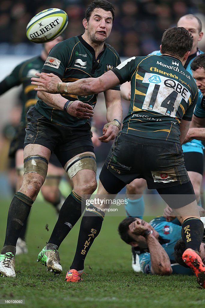<a gi-track='captionPersonalityLinkClicked' href=/galleries/search?phrase=Phil+Dowson&family=editorial&specificpeople=226672 ng-click='$event.stopPropagation()'>Phil Dowson</a> of Northampton Saints in action during the LV=Cup match between Northampton Saints and Gloucester at Franklin's Gardens on January 26, 2013 in Northampton, England.