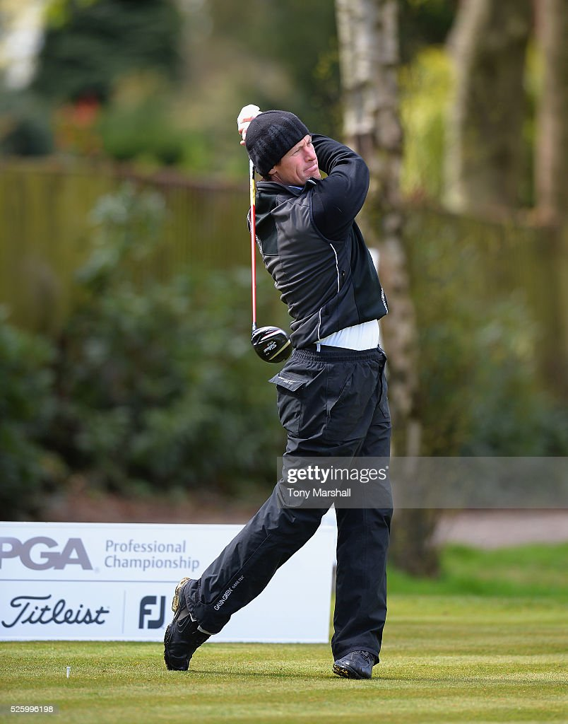 Phil Edwards of Nottinghamshire Golf Lessons plays his first shot on the 1st tee during the PGA Professional Championship - Midland Qualifier at Little Aston Golf Club on April 29, 2016 in Sutton Coldfield, England.