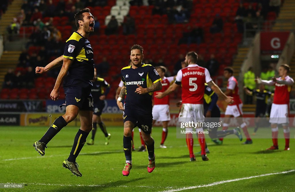 Phil Edwards of Oxford United celebrates scoring his teams second goal during The Emirates FA Cup Third Round match between Rotherham United and Oxford United at The New York Stadium on January 7, 2017 in Rotherham, England.