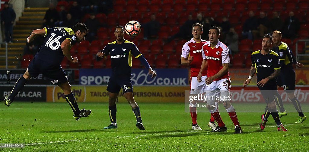 Phil Edwards of Oxford United scores his teams second goal during The Emirates FA Cup Third Round match between Rotherham United and Oxford United at The New York Stadium on January 7, 2017 in Rotherham, England.