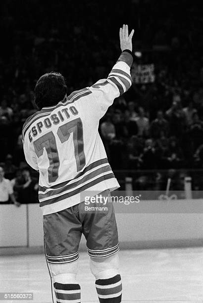 Phil Esposito veteran New York Ranger says goodbye to the members of his team and thousands of his fans prior to playing his last game