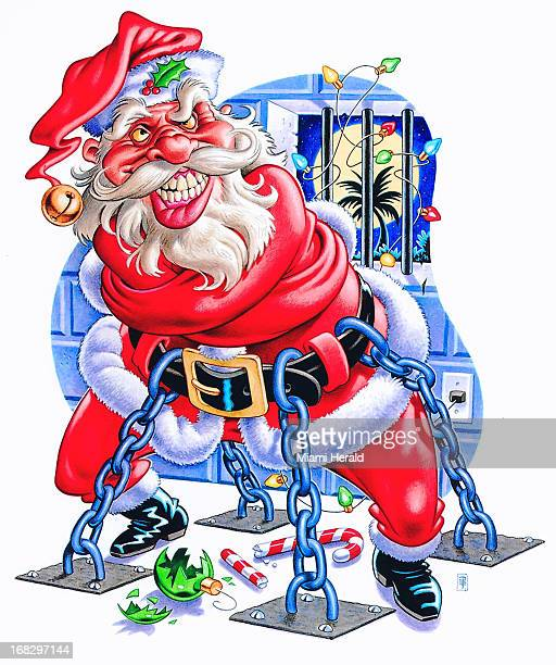 Phil Flanders color illustration of an angry Santa Claus straitjacketed and chained up in a jail cell Christmas lights are wrapped around the cell...