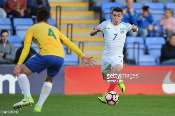 Phil Foden of England in action during the international friendly match between England U18 and Brazil U18 on September 1 2017 in Shrewsbury England