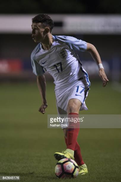 Phil Foden of England in action during the international friendly match between England U18 and South Africa U18 on September 4 2017 in Leek England