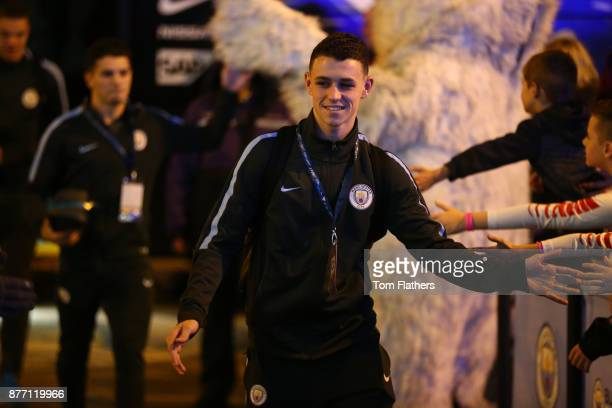 Phil Foden of Manchester City arrives to the stadium prior to the UEFA Champions League group F match between Manchester City and Feyenoord at Etihad...