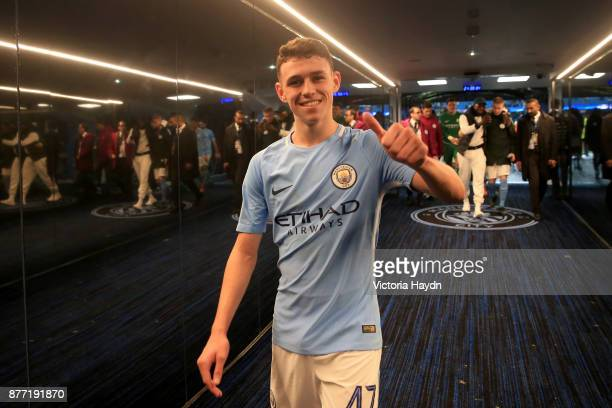 Phil Foden of Manchester City celebrates in the tunnel after the UEFA Champions League group F match between Manchester City and Feyenoord at Etihad...