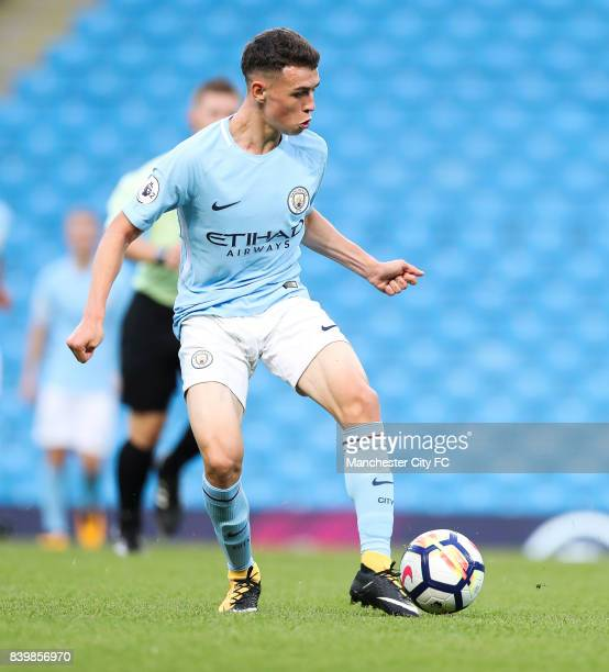 Phil Foden of Manchester City during the match between Manchester City and Leicester City in the Premier League 2 at Etihad Stadium on August 25 2017...