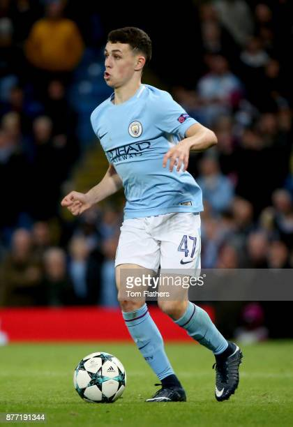 Phil Foden of Manchester City in action during the UEFA Champions League group F match between Manchester City and Feyenoord at Etihad Stadium on...