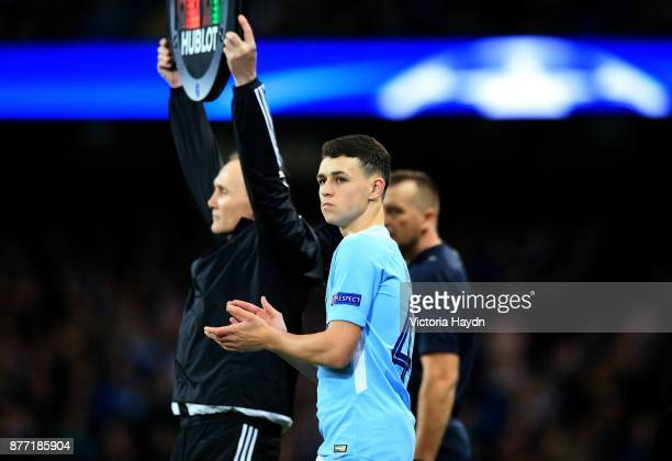 Phil Foden of Manchester City is being substituted during the UEFA Champions League group F match between Manchester City and Feyenoord at Etihad...