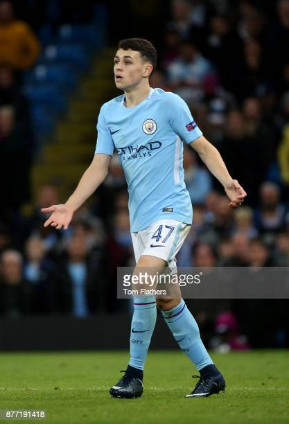 Phil Foden of Manchester City reacts during the UEFA Champions League group F match between Manchester City and Feyenoord at Etihad Stadium on...