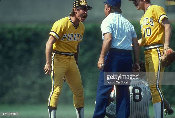 Phil Garner of the Pittsburgh Pirates argues with an umpire during an Major League Baseball game against the Chicago Cubs circa 1979 at Wrigley Field...