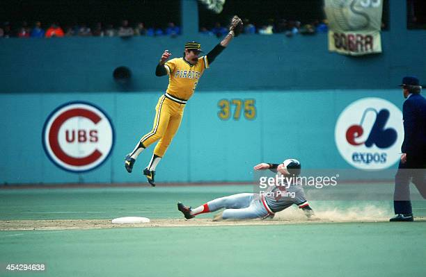 Phil Garner of the Pittsburgh Pirates leaps to catch the ball during World Series game three between the Pittsburgh Pirates and Baltimore Orioles on...