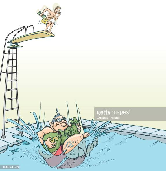 Phil Geib color illustration of a man jumping into a swimming pool holding bags of money while another man is holding a few dollars and shaking...