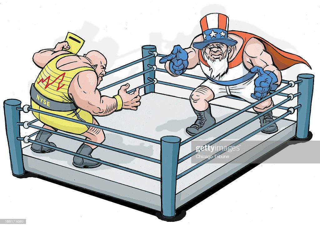 Phil Geib color illustration of two wrestlers in a ring one representing stocks the other representing bonds