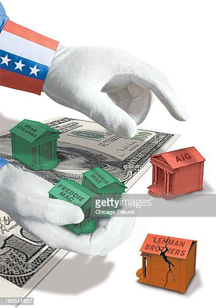 Phil Geib color illustration of Uncle Sam's whitegloved hands moving Monopolysized institutions Freddie Mac Fannie Mae Bear Sterns AIG and Lehman...