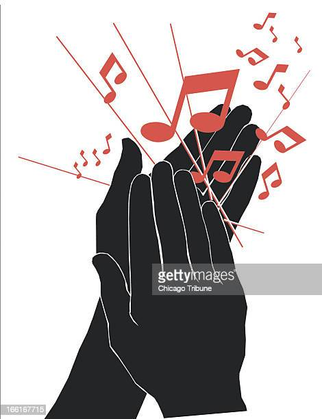 Phil Geib illustration of hands applauding music can be used with stories about when to applaud when not to applaud during a musical performance
