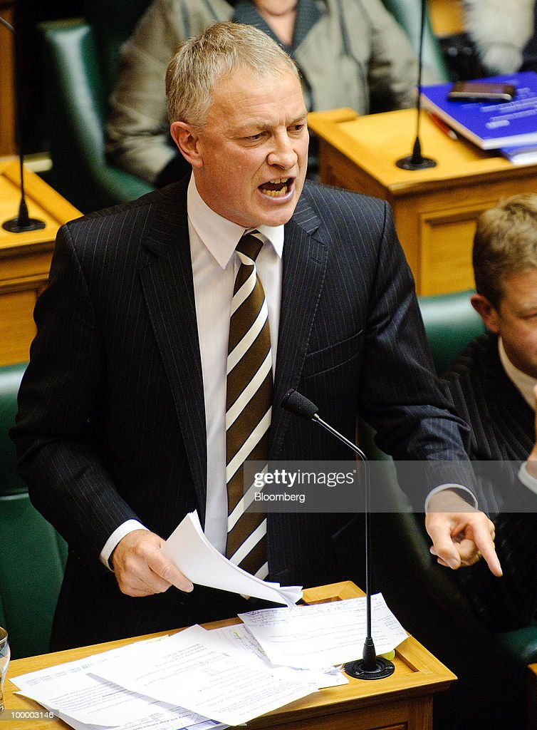 Phil Goff, leader of New Zealand's opposition Labour Party, responds to the budget speech by Bill English, New Zealand's finance minister, unseen, in Parliament, in Wellington, New Zealand, on Thursday, May 20, 2009. New Zealand will raise sales tax for the first time in two decades and lower income taxes to encourage household saving, aiming to reduce the economy's 'vulnerability' to concerns about sovereign debt. Photographer: Mark Coote/Bloomberg via Getty Images