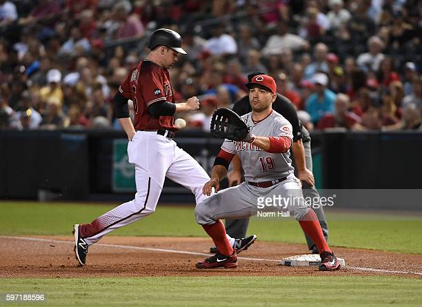 Phil Gosselin of the Arizona Diamondbacks hustles back to first base as Joey Votto of the Cincinnati Reds waits for the throw over from pitcher Homer...