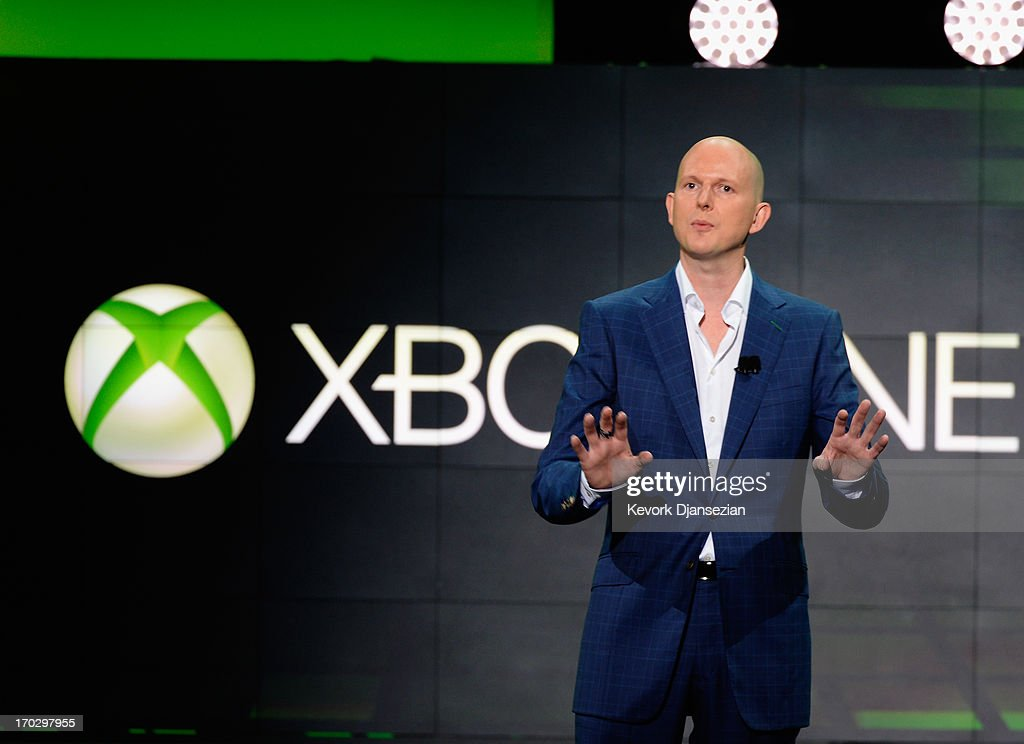 Phil Harrison, a Microsoft vice presdient, speaks during Microsoft Xbox news conference at the Electronic Entertainment Expo at the Galen Center on June 10, 2013 in Los Angeles, California. Thousands are expected to attend the annual three-day convention to see the latest games and announcements from the gaming industry.