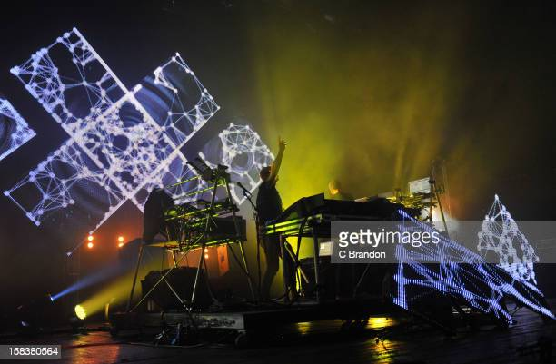 Phil Hartnoll and Paul Hartnoll of Orbital perform on stage at Brixton Academy on December 14 2012 in London England